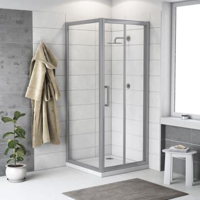 Box doccia rettangolare pieghevole Quad 70 x 80 cm, H 190 cm in vetro temprato, spessore 6 mm trasparente argento