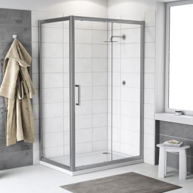 Box doccia angolare porta scorrevole e lato fisso rettangolare Quad 150 x 70 cm, H 190 cm in vetro temprato, spessore 6 mm trasparente argento