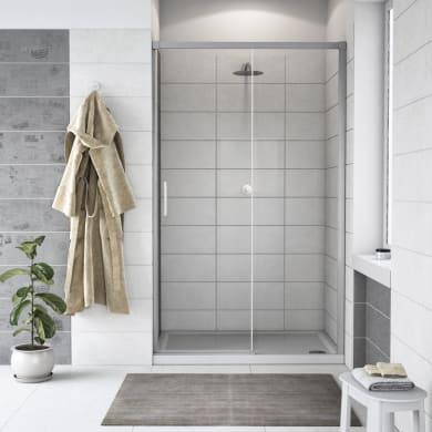 Porta doccia scorrevole Remix 120 cm, H 195 cm in vetro, spessore 6 mm trasparente cromato