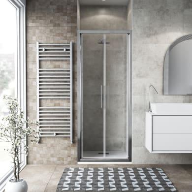 Porta doccia battente Record 71 cm, H 195 cm in vetro temprato, spessore 6 mm trasparente satinato