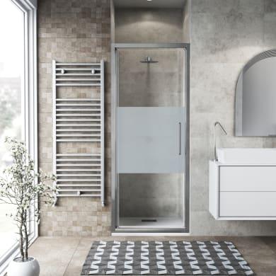 Porta doccia battente Record 82 cm, H 195 cm in vetro temprato, spessore 6 mm serigrafato satinato