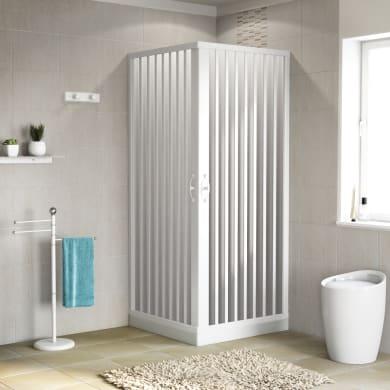 Box doccia quadrato pieghevole Playa 70 x 80 cm, H 185 cm in pvc, spessore 2 mm serigrafato bianco