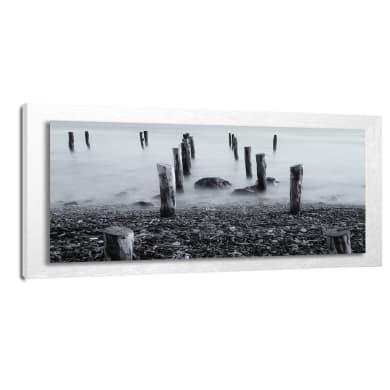 Quadro con cornice Mare Inverno 76x136 cm