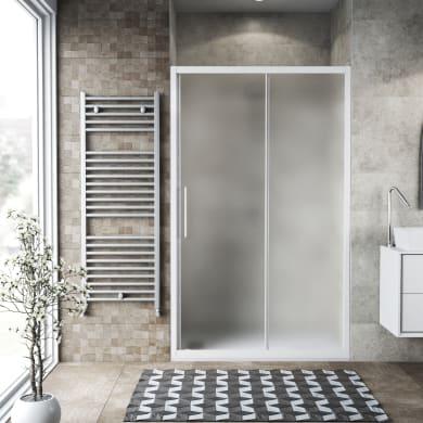 Porta doccia scorrevole Record 135 cm, H 195 cm in vetro temprato, spessore 6 mm satinato bianco