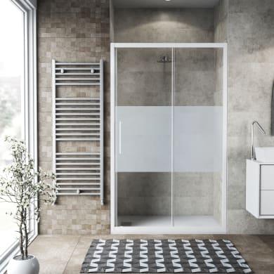Porta doccia scorrevole Record 125 cm, H 195 cm in vetro temprato, spessore 6 mm serigrafato bianco
