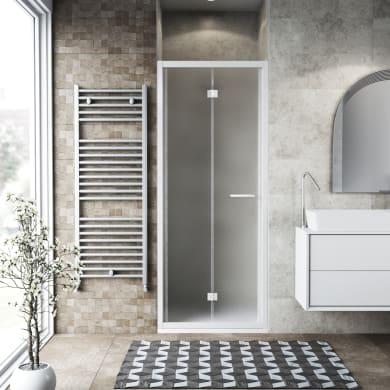 Porta doccia pieghevole Record 71 cm, H 195 cm in vetro temprato, spessore 6 mm satinato bianco