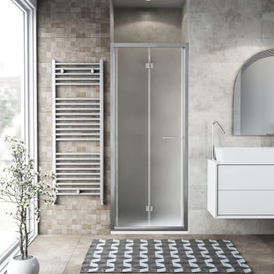 Porta doccia pieghevole Record 96 cm, H 195 cm in vetro temprato, spessore 6 mm satinato satinato