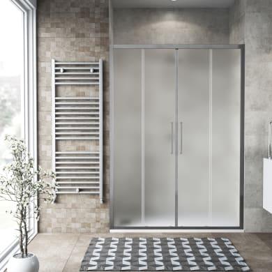 Porta doccia scorrevole Record 160 cm, H 195 cm in vetro temprato, spessore 6 mm satinato satinato
