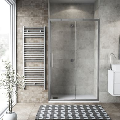 Porta doccia scorrevole Record 121 cm, H 195 cm in vetro temprato, spessore 6 mm trasparente satinato
