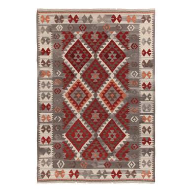 Tappeto Kilim Zagros in lana, tessuto a mano, grigio e arancione, 160x230 cm