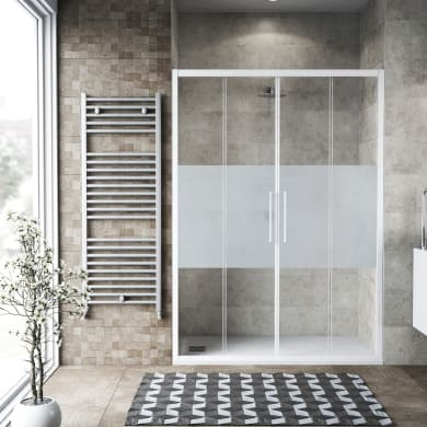 Porta doccia scorrevole Record 175 cm, H 195 cm in vetro temprato, spessore 6 mm serigrafato bianco