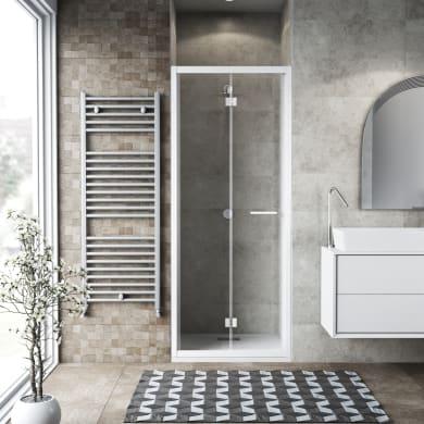 Porta doccia pieghevole Record 86 cm, H 195 cm in vetro temprato, spessore 6 mm trasparente bianco