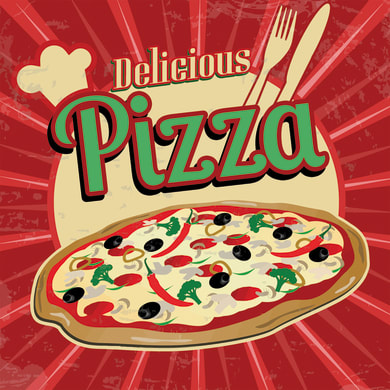 Quadro su tela Red Pizza 50x50 cm