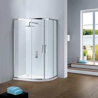 Box doccia semicircolare scorrevole Slimline 80 x 100 cm, H 195 cm in vetro temprato, spessore 6 mm trasparente cromato
