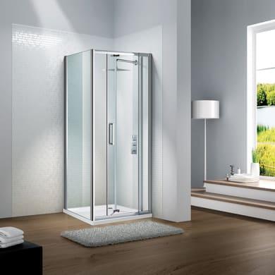 Porta doccia battente Slimline 90 cm, H 195 cm in vetro temprato, spessore 6 mm trasparente satinato