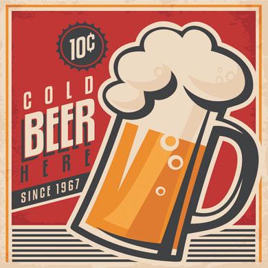 Quadro su tela Cold Beer 30x30 cm