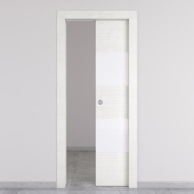 Porta scorrevole a scomparsa Melangè bianco L 70 x H 210 cm destra