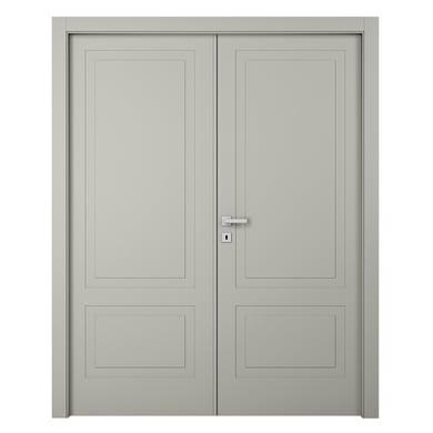 Porta a battente Nakano 2 Ante grigio L 140 x H 210 cm destra