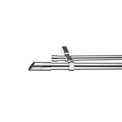Kit bastone per tenda estensibile Doppio in metallo Ø 16/19 mm grigio e argento 160 cm INSPIRE