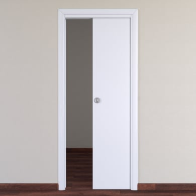 Porta scorrevole a scomparsa Pearl bianco L 80 x H 210 cm reversibile