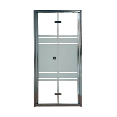 Porta doccia pieghevole Almè 170 cm, H 195 cm in vetro temprato, spessore 5 mm serigrafato satinato