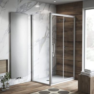 Box doccia rettangolare scorrevole Namara 100 x 80 cm, H 195 cm in vetro, spessore 8 mm trasparente argento