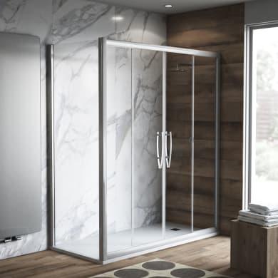 Box doccia rettangolare scorrevole Namara 140 x 80 cm, H 195 cm in vetro, spessore 8 mm trasparente argento