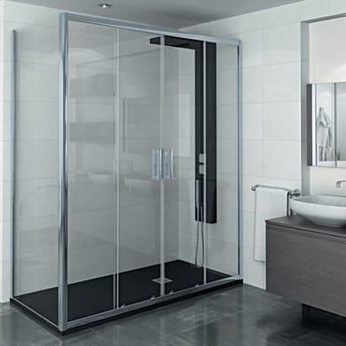 Porta doccia 2 ante fisse + 2 ante scorrevoli Manhattan 170 cm, H 200 cm in alluminio, spessore 6 mm trasparente cromato