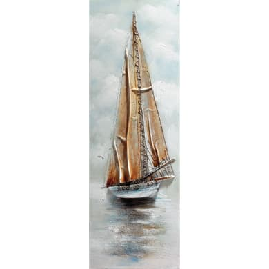 Quadro dipinto a mano Barca A Vela 90x30 cm