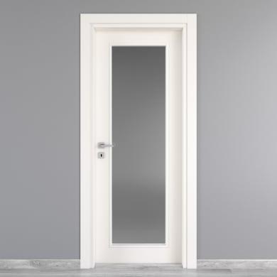 Porta a battente Moma Vetro bianco L 80 x H 210 cm destra