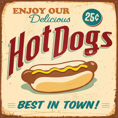 Quadro su tela Hot dogs 50x50 cm