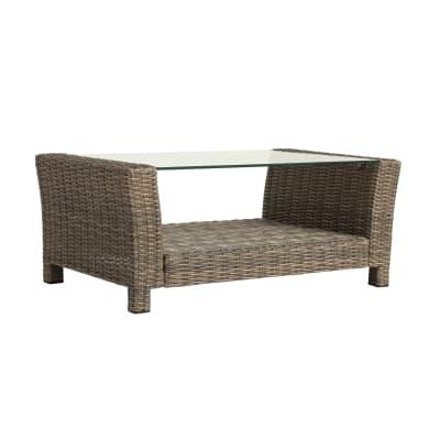 Tavolino da giardino rettangolare Manhattan NATERIAL con piano in vetro L 50 x P 100 cm