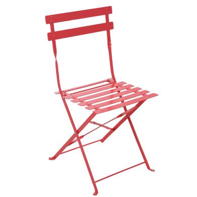 Sedia da giardino senza cuscino pieghevole in acciaio Flora NATERIAL colore rosso