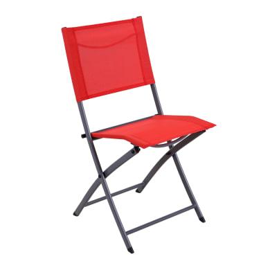 Sedia da giardino senza cuscino pieghevole in acciaio Emys NATERIAL colore rosso