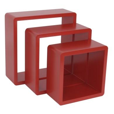 Mensola a cubo L 24 x H 28 cm, Sp 15 mm rosso