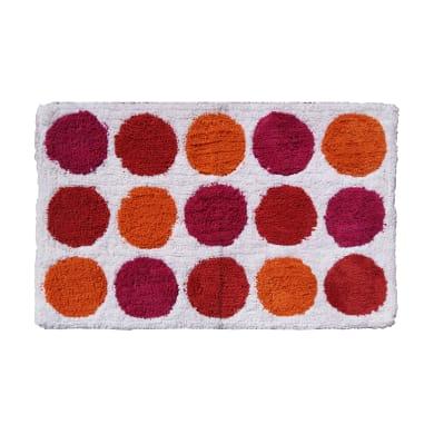 Tappeto bagno rettangolare Polka in cotone fucsia 80 x 50 cm