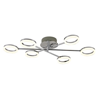 Plafoniera moderno Iring LED integrato grigio, in metallo,  D. 76.0 cm 76.0x12.5 cm, 6  luci INSPIRE