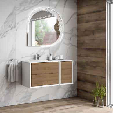 Mobile bagno Bellagio bianco e rovere L 105 cm