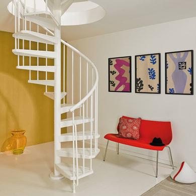 Scala a chiocciola tonda Magia50 FONTANOT L 150 cm, gradino bianco, struttura bianco