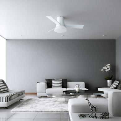 Ventilatore da soffitto LED integrato Tivano, bianco, D. 112 cm, con telecomando