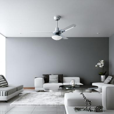 Ventilatore da soffitto Cilaos, cromo, D. 142 cm, con telecomando