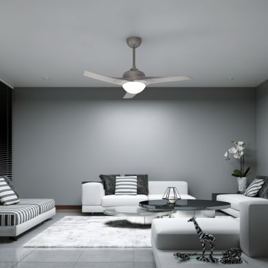 Ventilatore da soffitto Guillin, argento, D. 132 cm, con telecomando
