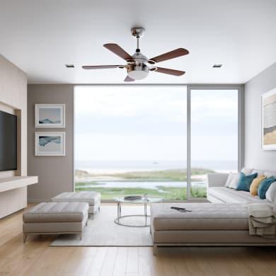 Ventilatore da soffitto LED integrato Hazel, marrone, D. 132 cm, con telecomando
