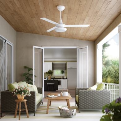 Ventilatore da soffitto LED integrato Breva, bianco, D. 142 cm, con telecomando
