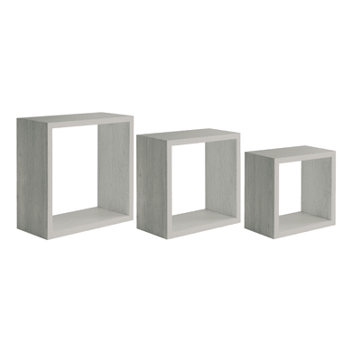 Mensola a cubo Tris L 30 x H 30 cm, Sp 1.2 mm rovere grigio