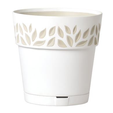 Vaso Opera Cloe STEFANPLAST in polipropilene colore bianco travertino H 15 cm, Ø 15 cm