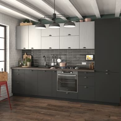 Cucina in kit DELINIA soho detroit grigio L 255 cm