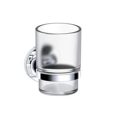 Bicchiere porta spazzolini Elliot in vetro cromo