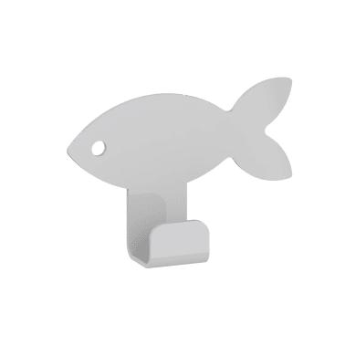 Gancio Fish bianco cromato in inox