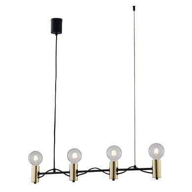 Lampadario Glamour Axon nero e oro in acrilico, D. 89 cm, L. 120 cm, 4 luci, FAN EUROPE